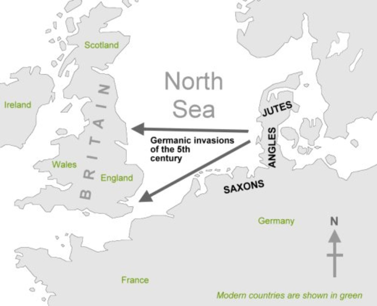 Invasion routes of Germanic tribes during the 5th century.  English is a Germanic language.
