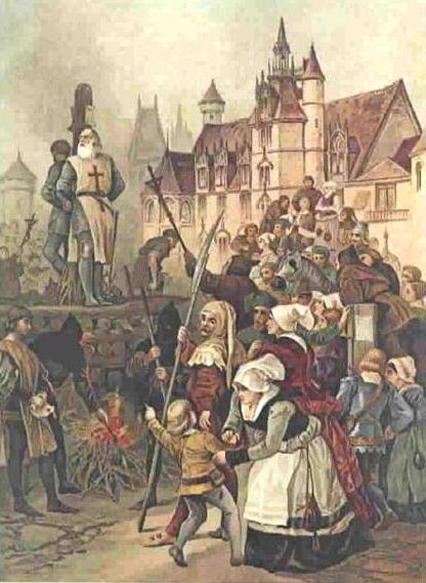 Jacques de Molay -- the 23rd and last Grand Master of the Knights Templar -- was burned alive at the stake after torture and imprisonment. He was among those arrested on October 13, 1307 due to the actions of Pope Clement V and King Philip the Fair o