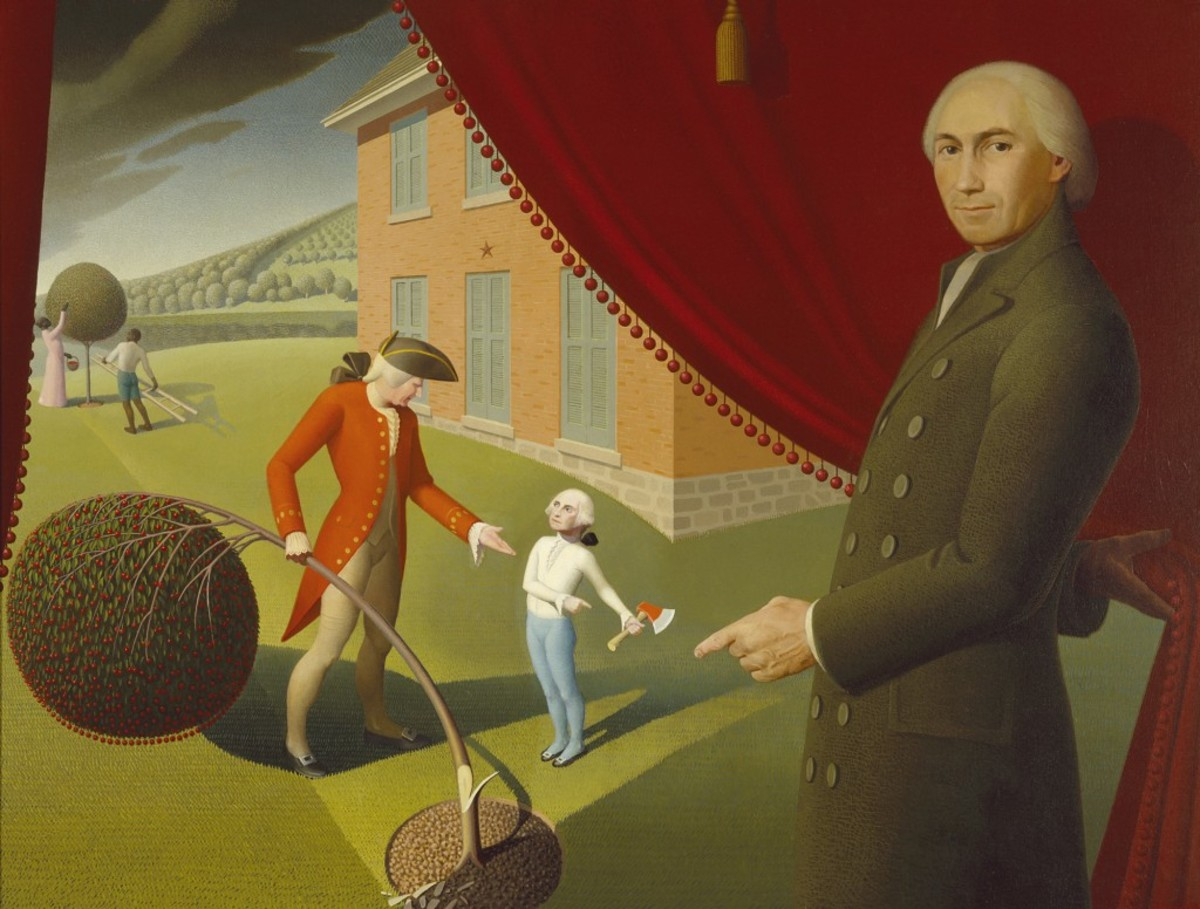 There is no credible evidence that George Washington actually cut down a cherry tree as a youth, as depicted in this painting by Grant Wood.