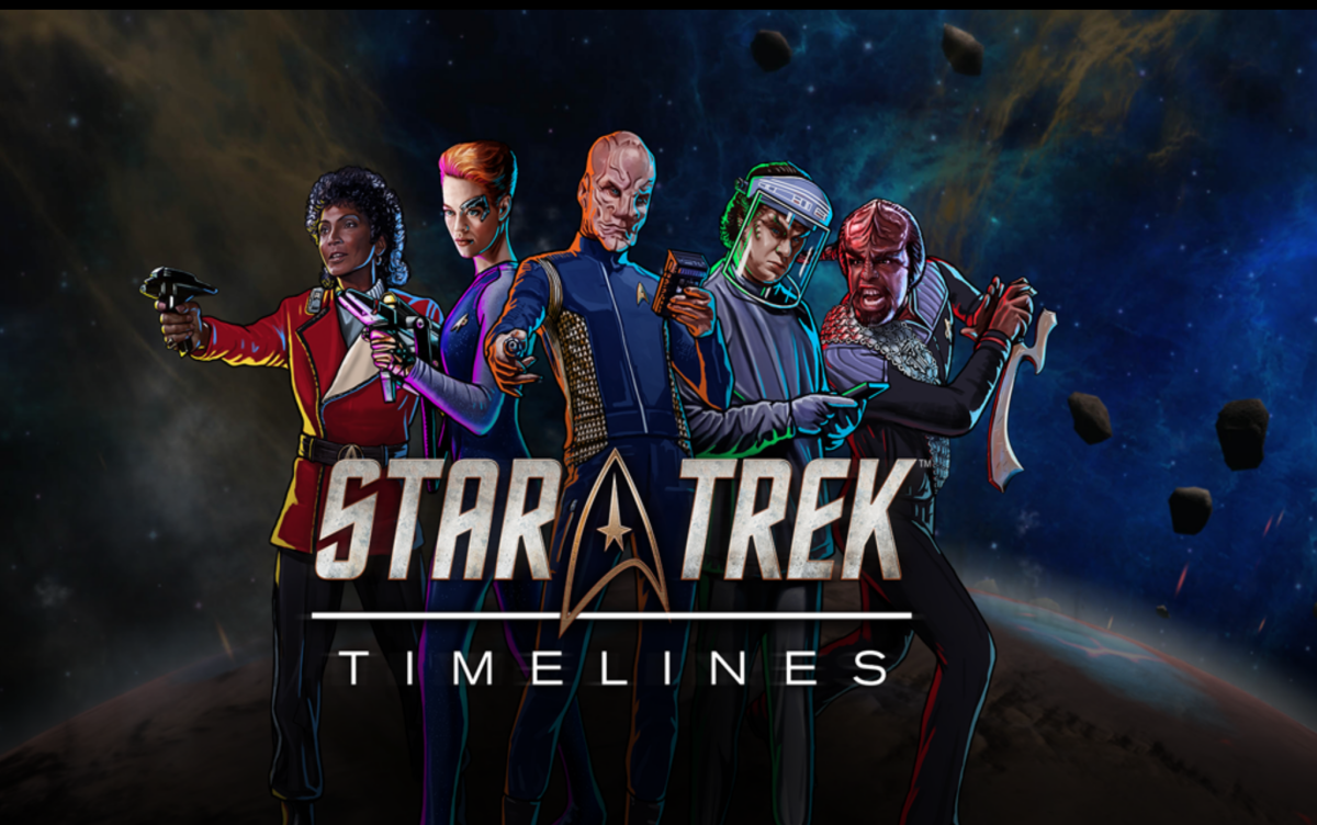 """Star Trek Timelines"" is available for Android, iOS, Steam, and Facebook.  If you have a device online, you can probably play."