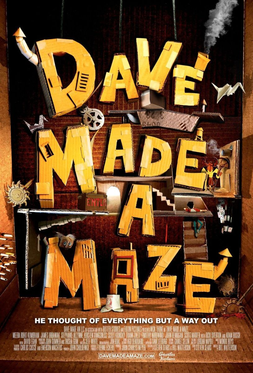 "The official theatrical poster for ""Dave Made a Maze."""