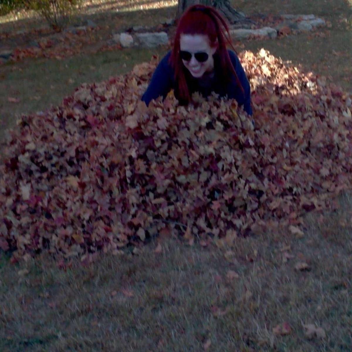 You're never too old to jump in a leaf pile.