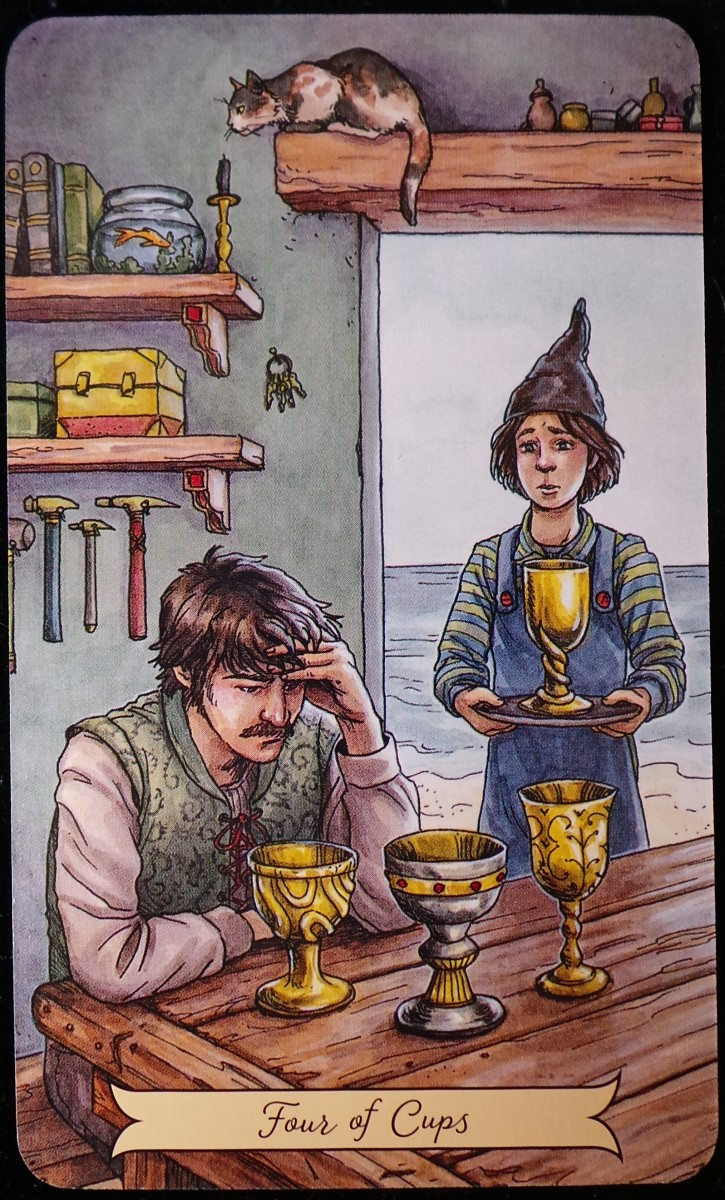 Four of Cups from the Everyday Witch Tarot