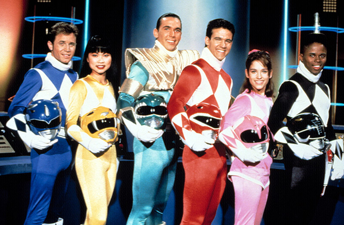 The Mighty Morphin Power Rangers team c.1993-94. From left to right: David Yost as Billy, Thuy Trang as Trini, Jason David Frank as Tommy, Austin St.John as Jason, Amy Jo Johnson as Kimberly and Walter Emanuel Jones as Zack