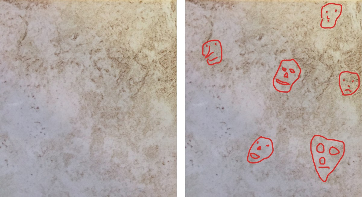 Faces in a pattern on a ceramic floor tile. I see four others that I did not mark, can you see them?