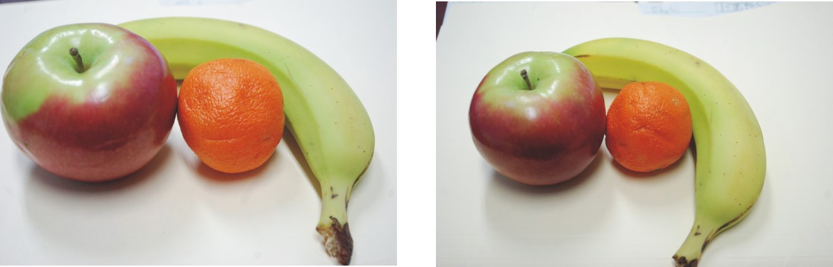 Can you see the happy little guy smiling back at you from the fruit in pic number 1? How about the angry guy scowling at you with one eye closed in picture 2? or the face in the apple?