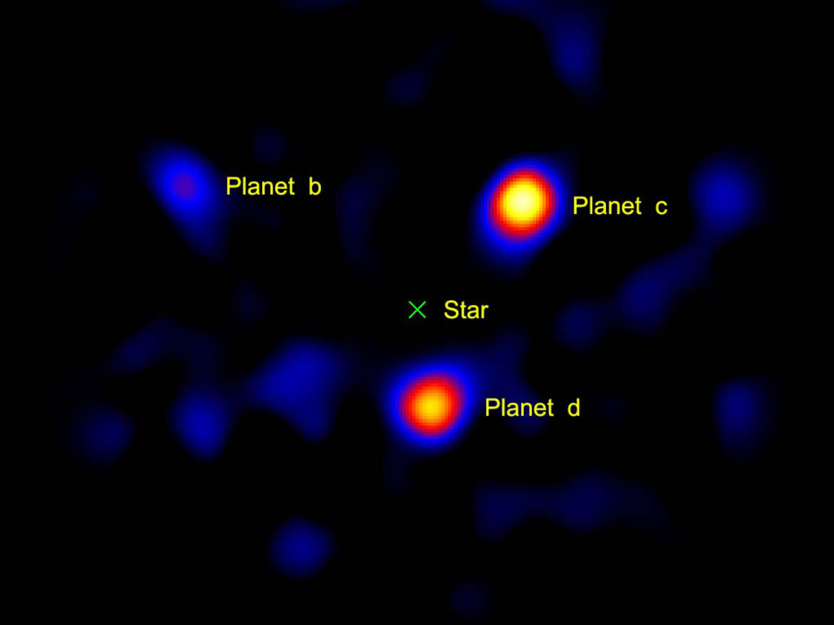 Three exoplanets that are directly imaged. The planets orbit around a star located 120 light years away. Notice the dark space where the star (HR8799) is located, this removal is key to seeing the three planets.