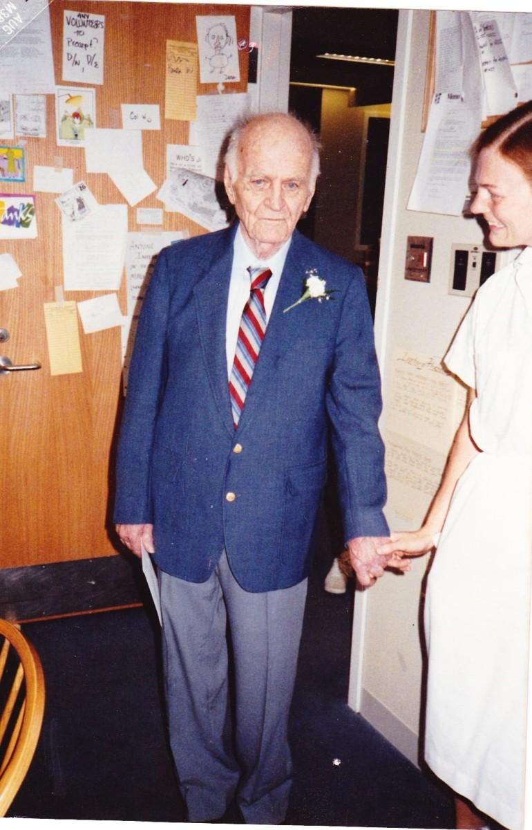 My Dad with Nurse Mimi Hawkes, Beth Israel Hospital, Boston, 1987.