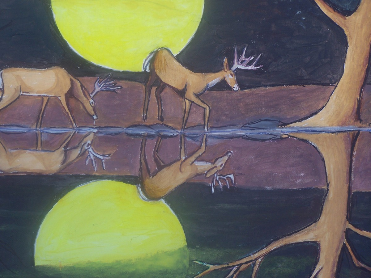 doppelganger deer scene came from a dream to be expressed upon canvas...