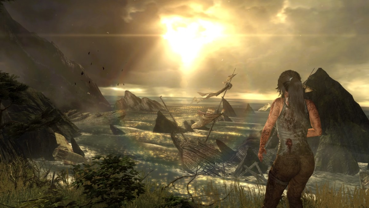 Screenshot of the horizon of Yamatai in the PlayStation 4 Definitive Edition of Tomb Raider (2013).