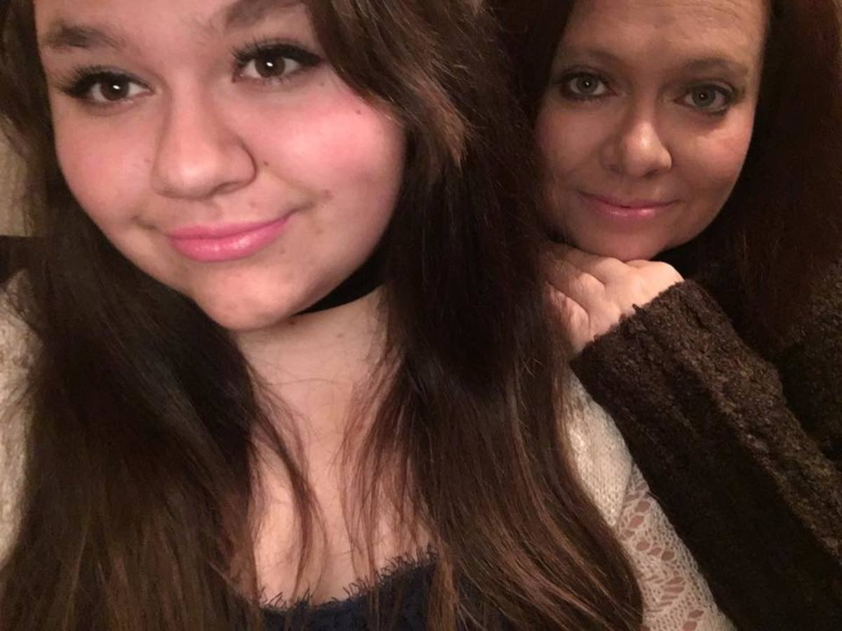 Mom and daughter Christmas selfie.