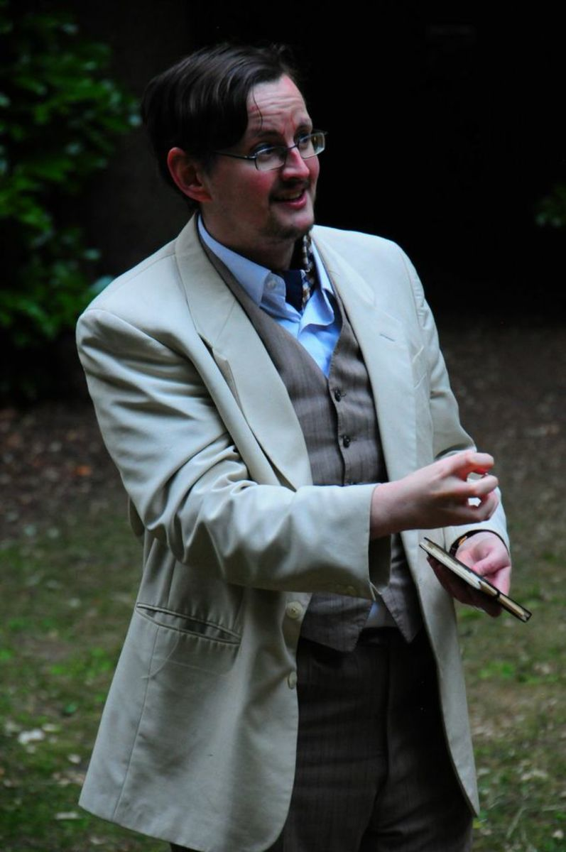 """Me as Boris Trigorin in an amateur production of """"The Seagull"""" (Garden Suburb Theatre, London, July 2013). Being anxious."""