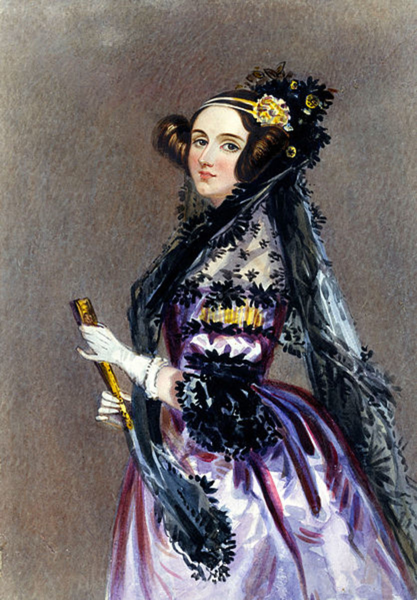 Painting done in watercolor of Ada King, Countess of Lovelace (Ada Lovelace) 1840