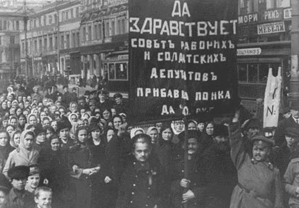 Russian workers demonstrating during the February revolution of 1917.