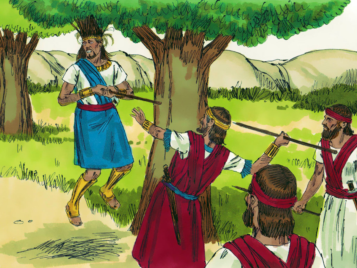 Absolam got his hair caught in a tree. While he was hanging there, Joab speared him.