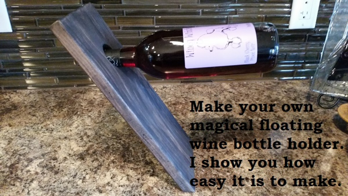 This picture is of a floating wine bottle holder i made. Read my article to find out how to easily make your own.