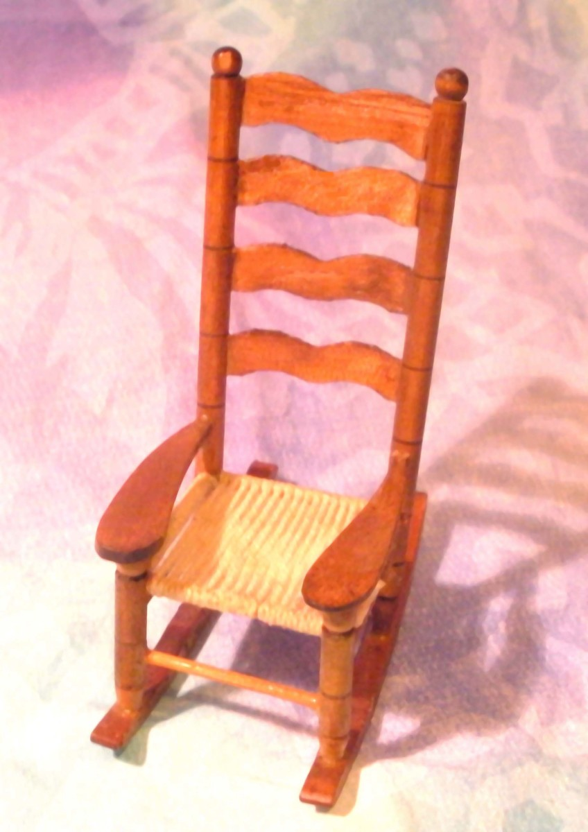 Doll house rocking chair I sold.  Notice the tight close-up of the item