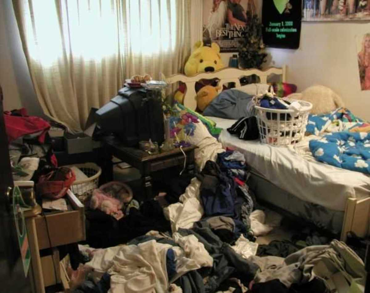 Maybe try hanging up two things at a time if your room looks like this.