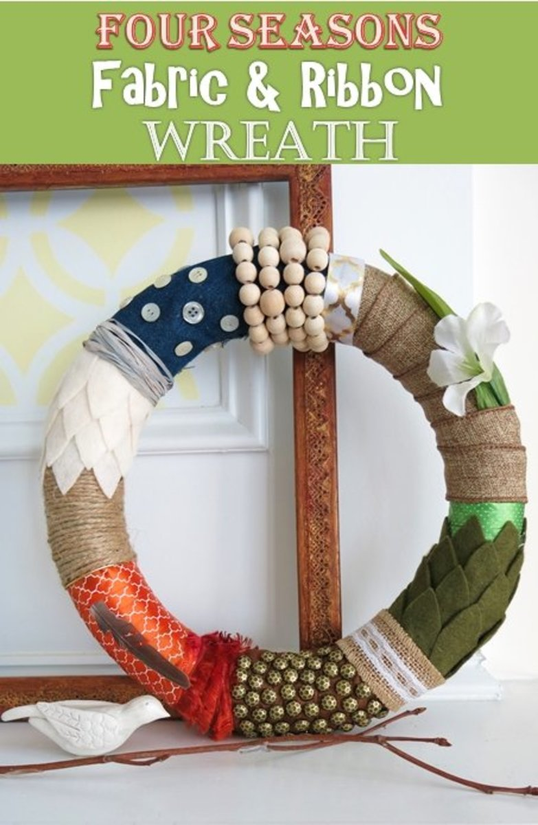 DIY Craft Tutorial:  How to Make a Four Seasons Fabric and Ribbon Wreath