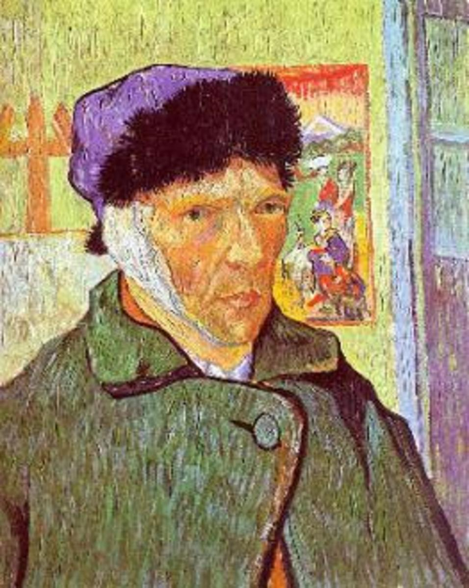 Vincent van Gogh, self-portrait, shortly after cutting his ear off