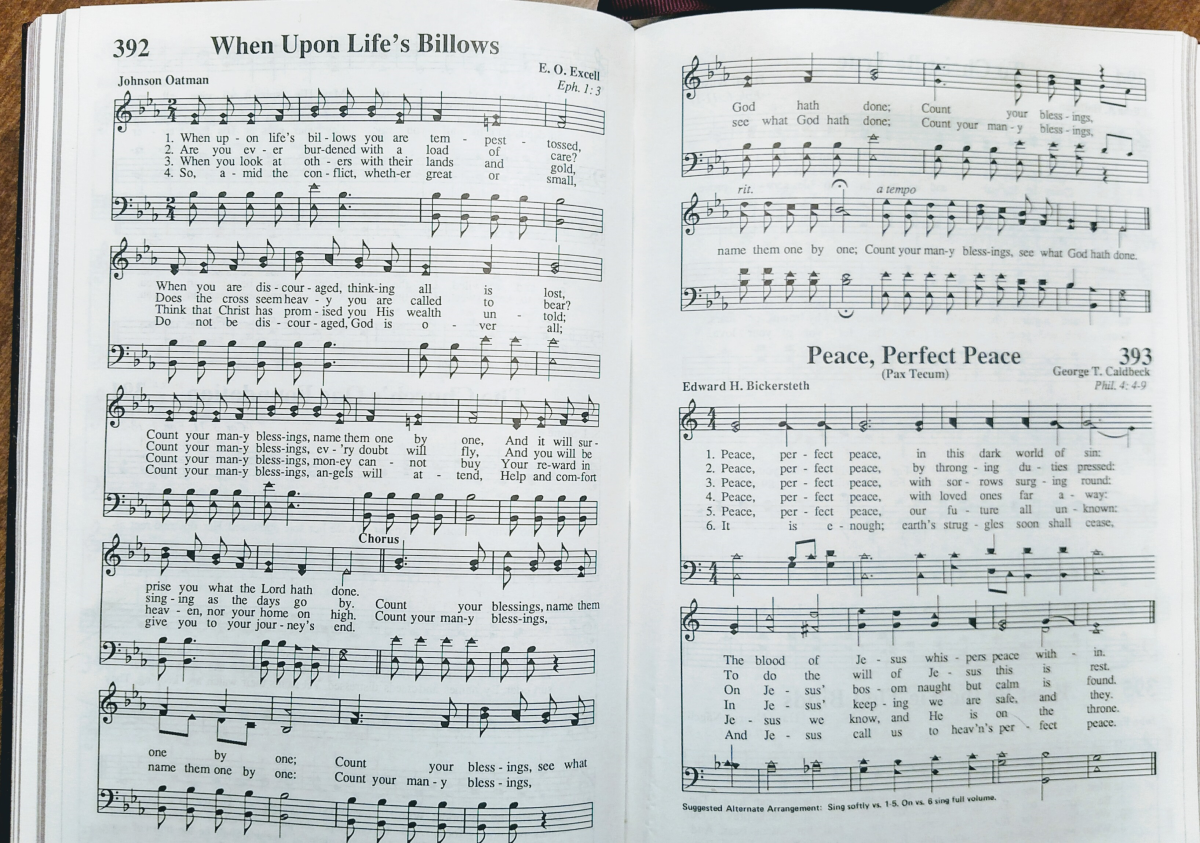 "Hymn ""When Upon Life's Billows"" taken from the hymnal"