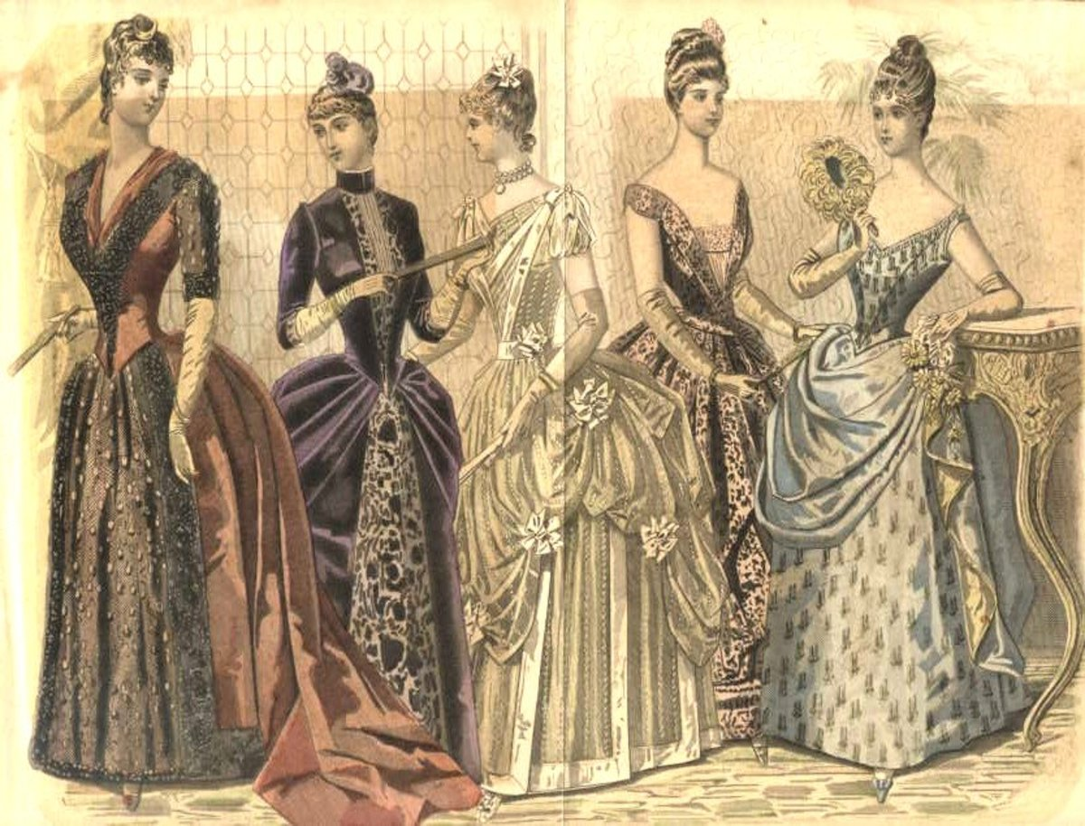 Fashion Plate circa 1888 from Peterson's Magazine. First and second figures wear polonaise style.