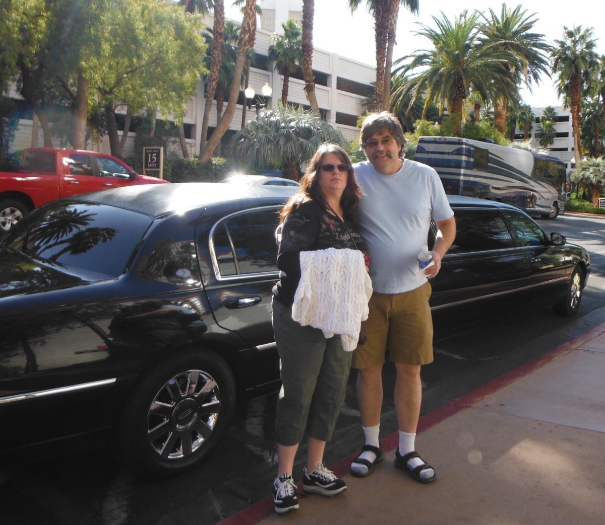 The two of us and the limo. Sent by the heli tours to pick us up.