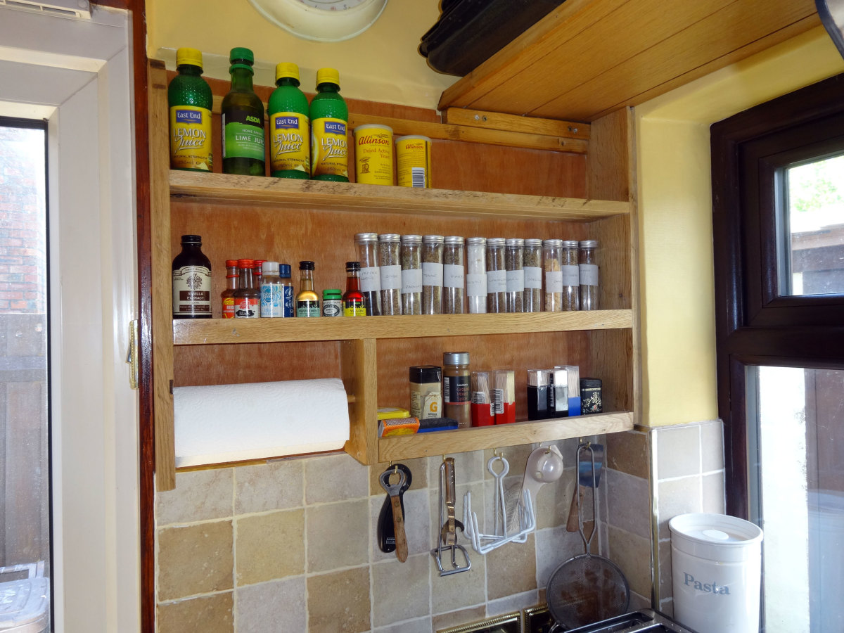 Bespoke spice rack made from solid oak.