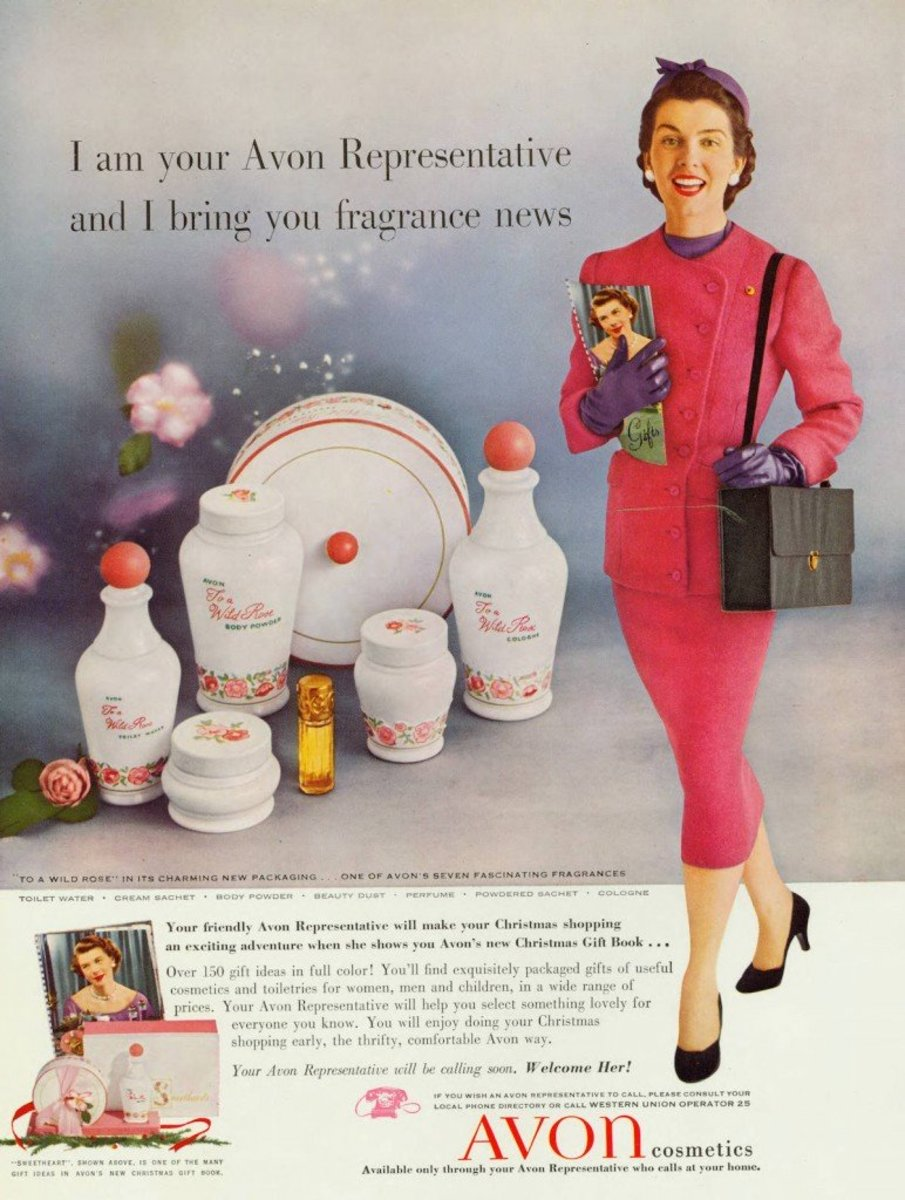 """A vintage advertisement making use of the famous """"Ding Dong, Avon Calling"""" catchphrase."""