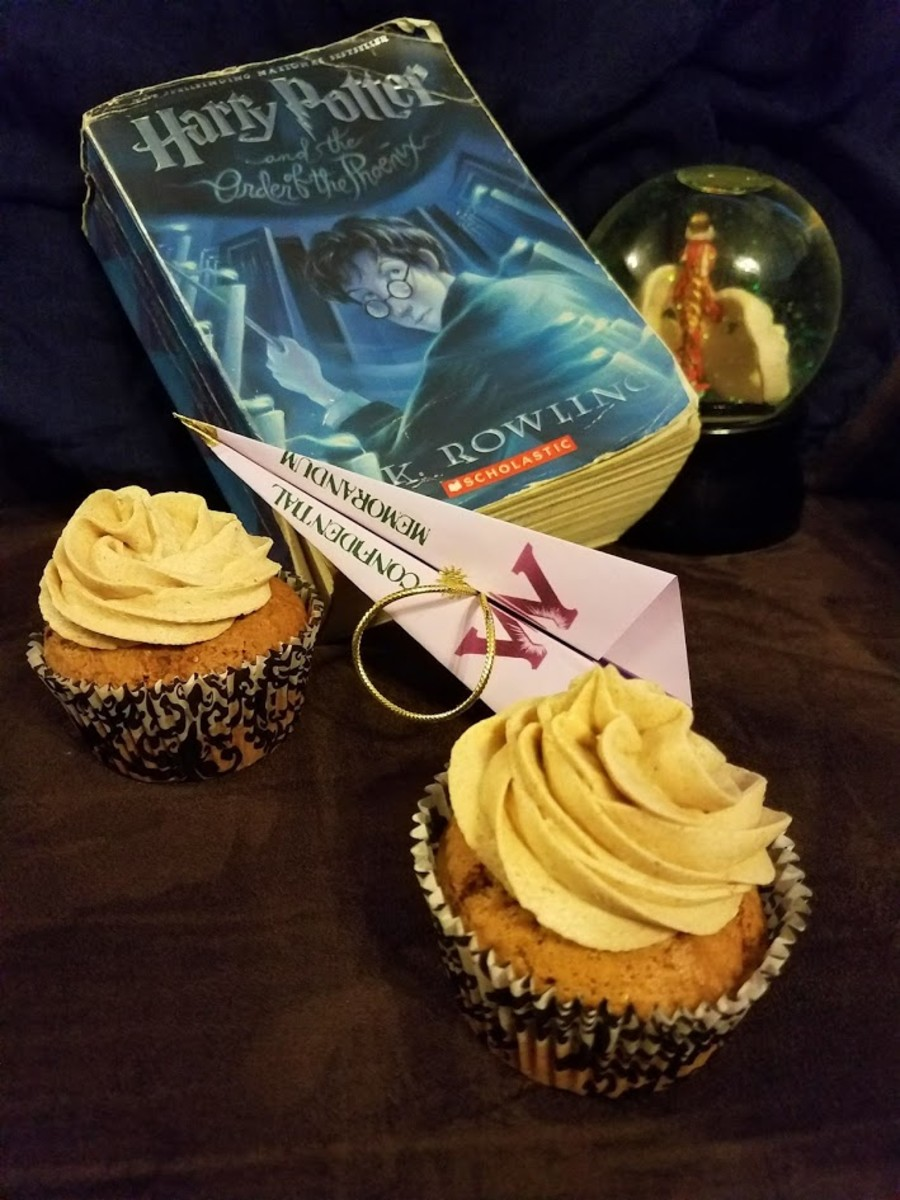 """Have a biscuit, Potter."" Book club discussion questions and gingersnap cupcakes with firewhiskey frosting."