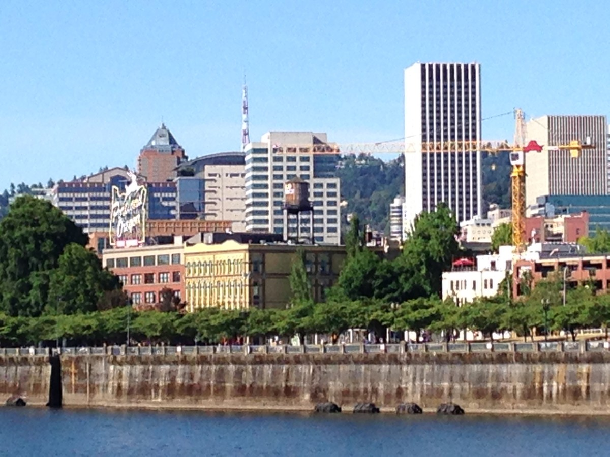 Downtown Portland in the Summer, seen from across the Wilamette River.