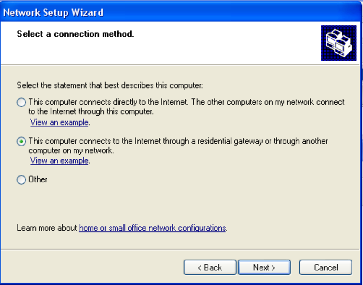 This screen asks for basic information about the computer in which the network is to be set up.