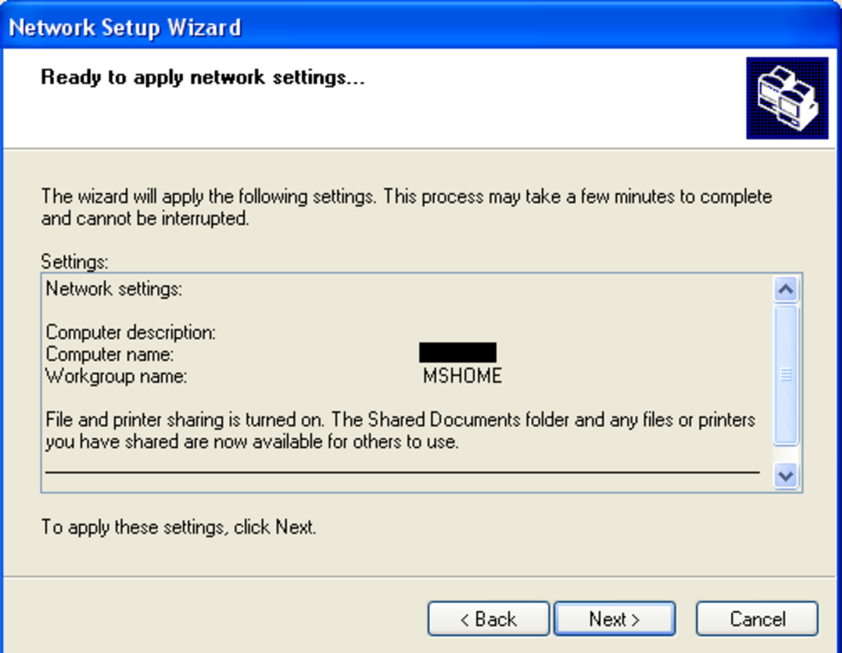 This final screen of the Network Setup Wizard allows you to verify the settings. Pressing Next will set up the network instantly. This must be done for all computers to be set up in the network.