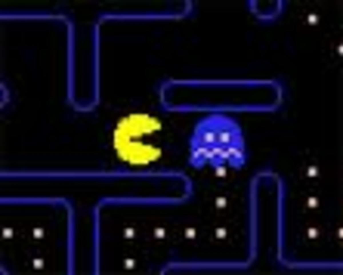 Pac-Man has eaten a power pellet. Note the ghost is blue and looks 'scared.'
