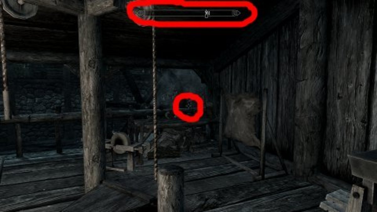 Skyrim's default setting is to have a compass in the top center and crosshair in the center of the screen.