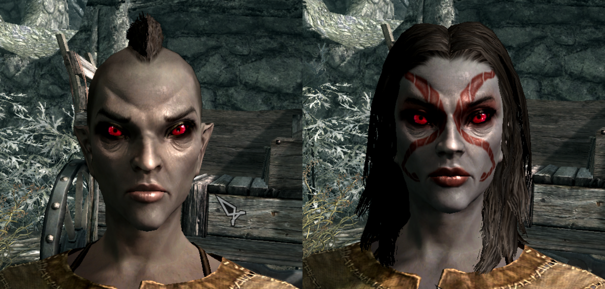 The Dark Elf 1 preset before and after tweaking.