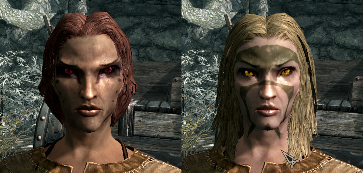 The Wood Elf 9 preset before and after customization.