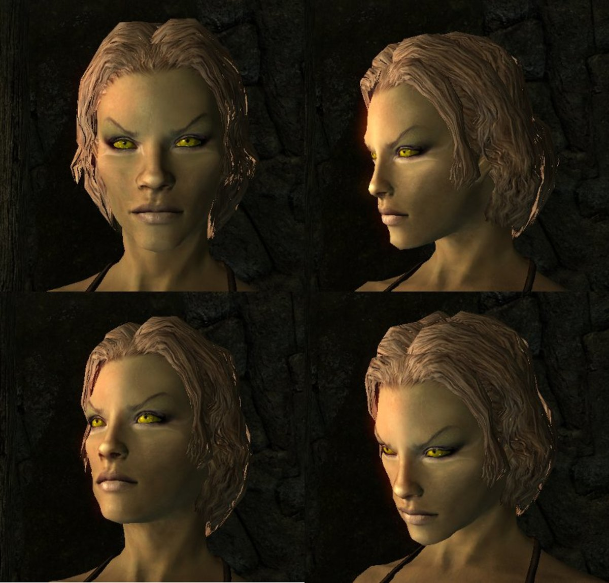 This face combines diffuse and specular maps from one mod with normal maps from another.