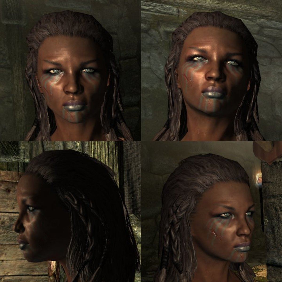 Complementary colors can help give your character's a more 'put together' look. Notice the eyes, lips and war paint.