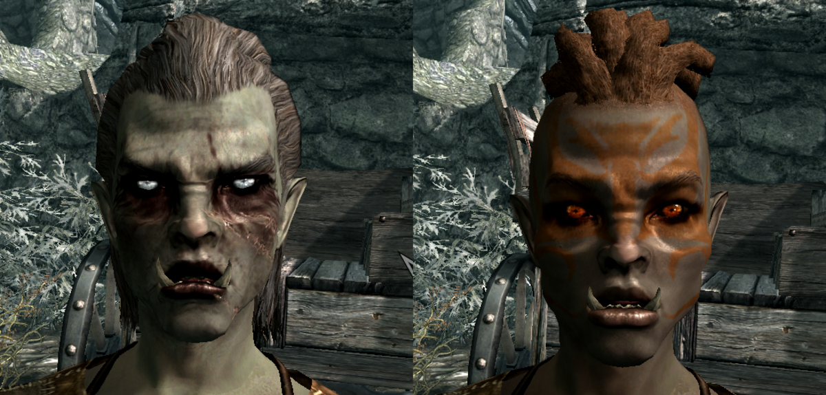 Before and after customizing one of the default Orc presets. No preset prevents you from creating a great-looking character.