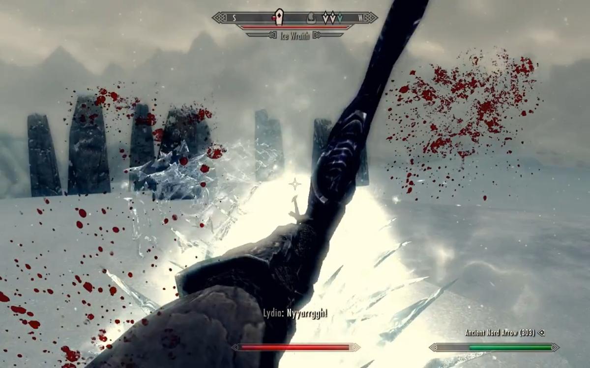Fighting the Ice Wraith.