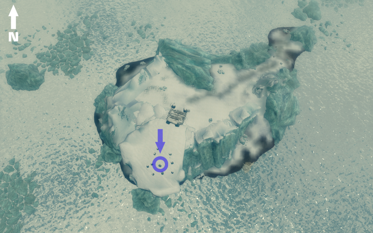 Aerial view of the island containing the Serpent Stone showing the three routes up to the summit.