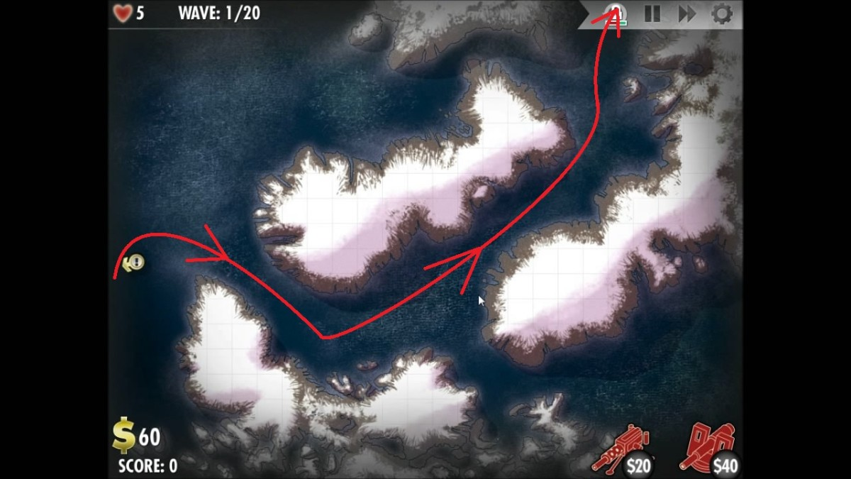 Map of the routes taken by the enemy in the Axis level Northern Europe - Valhalla in iBomber Defense.