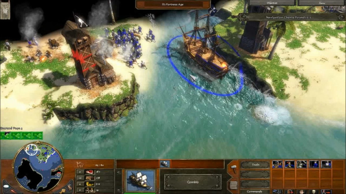 Attacking the Settler island in the level Pirates! of Age of Empires 3.