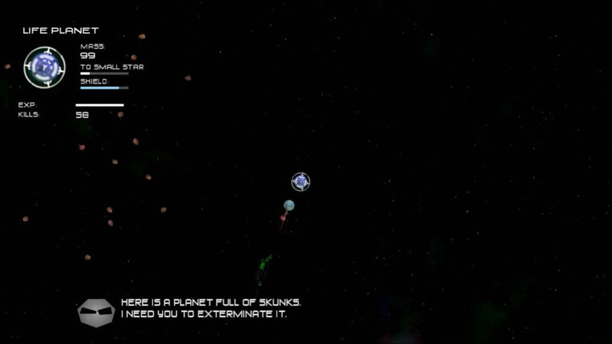 Finishing off the skunk planet in the Experiment 1 level.