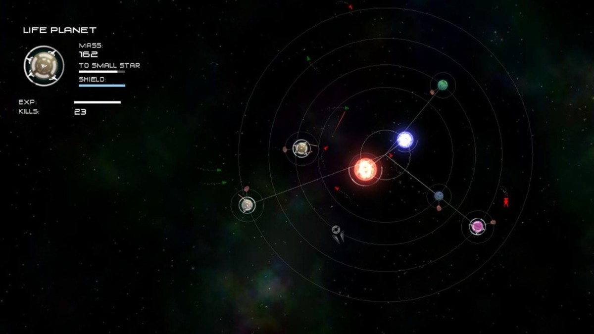 Fighting an enemy solar system's lifeforms with a fully evolved and experienced planet in Solar 2.
