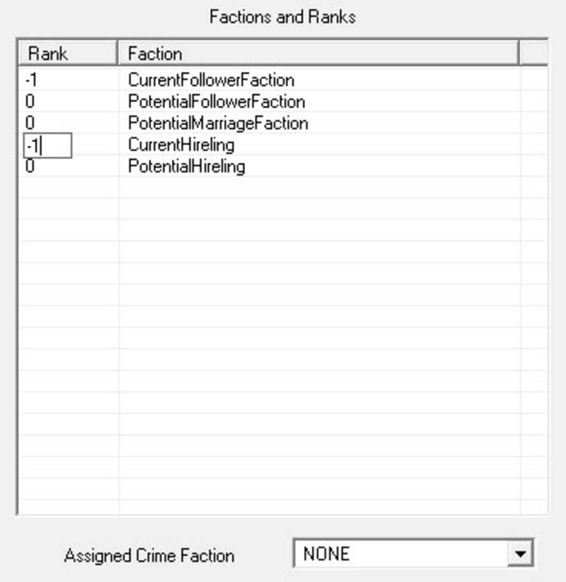 Edit the faction rank