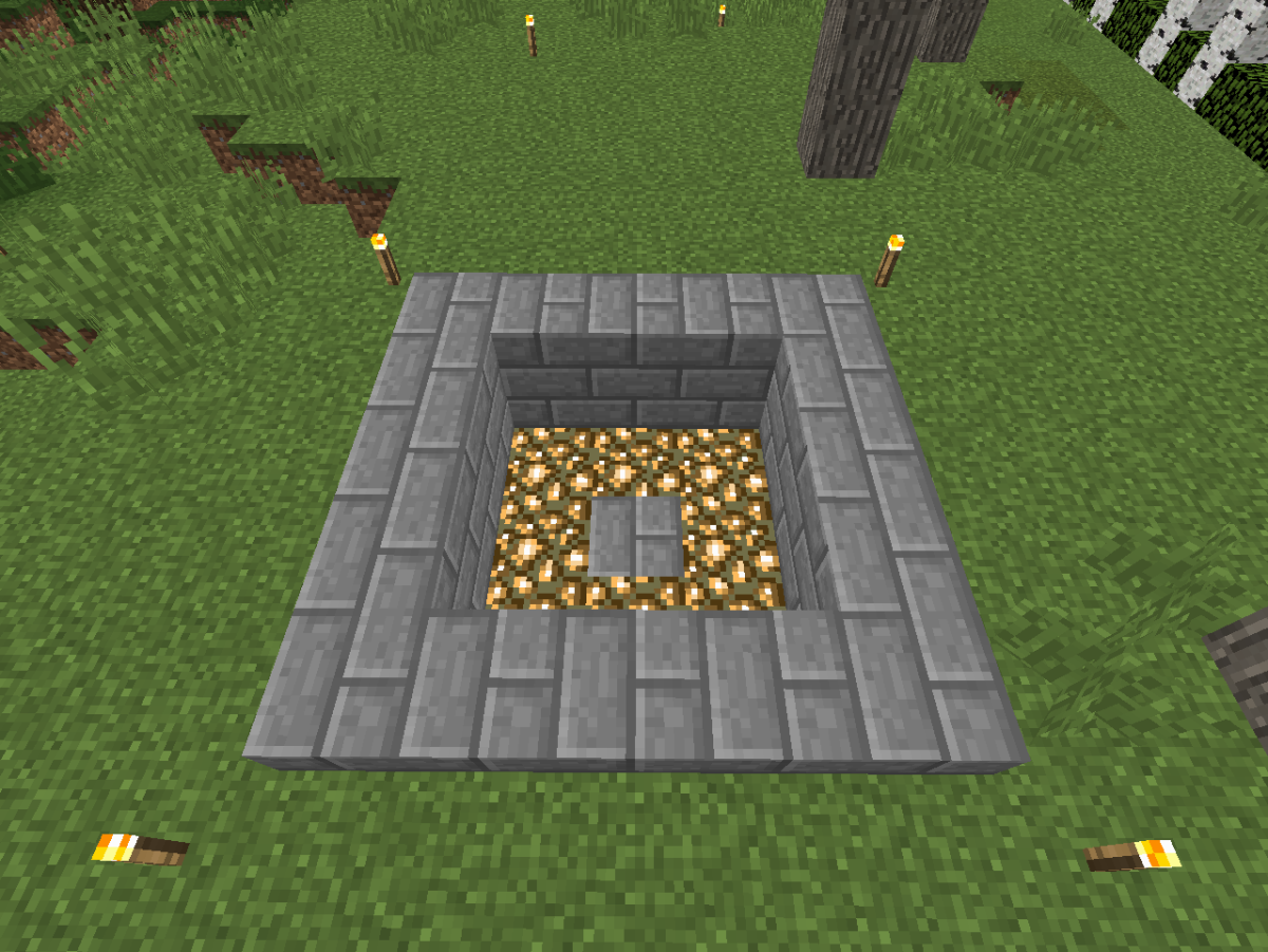After removing a layer of dirt, replace the next layer with glow stone blocks.
