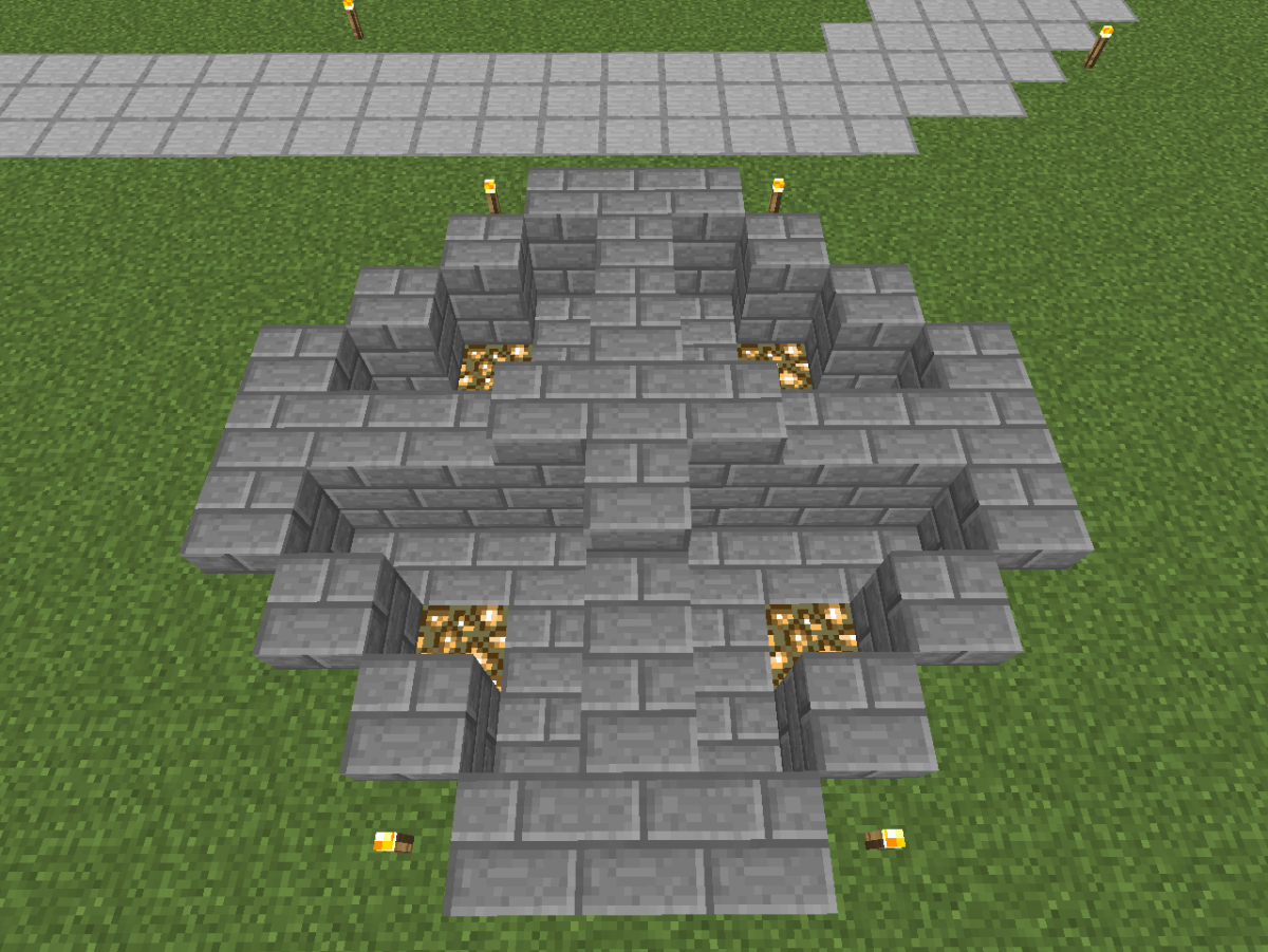 Layering the bottom with glowstone makes your fountain brighter, if desired.