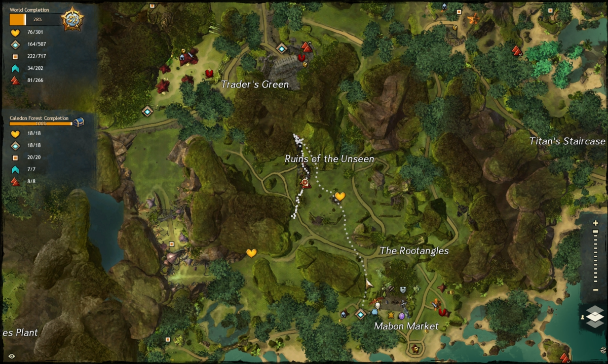 Map route to the Ruins of the Unseen Vista